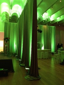 Modern Draping & Green Uplighting