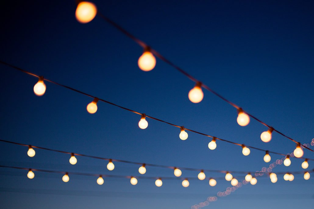 Lights hang outdoors